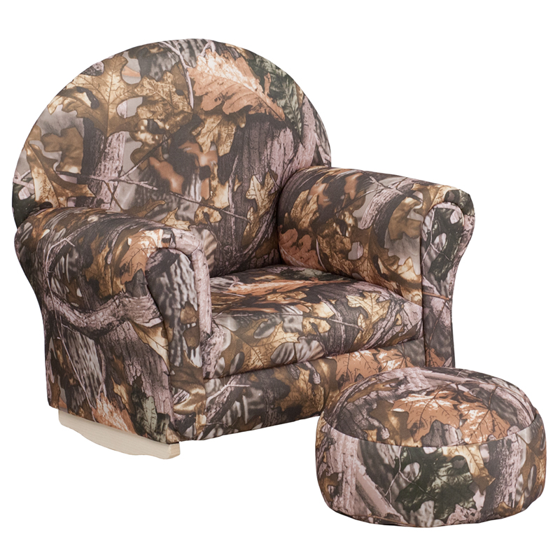 Kids Camouflage Rocking Chair with Ottoman