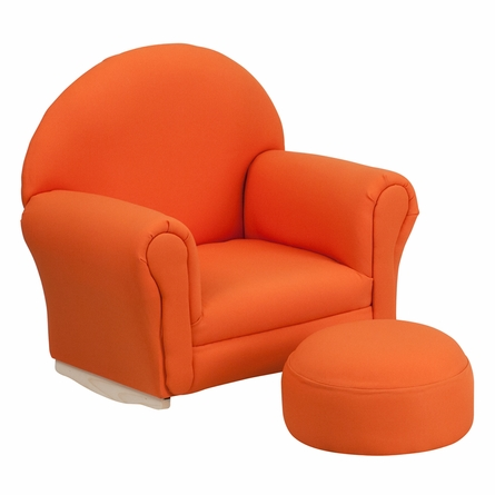 Kids Orange Fabric Rocking Chair and Ottoman