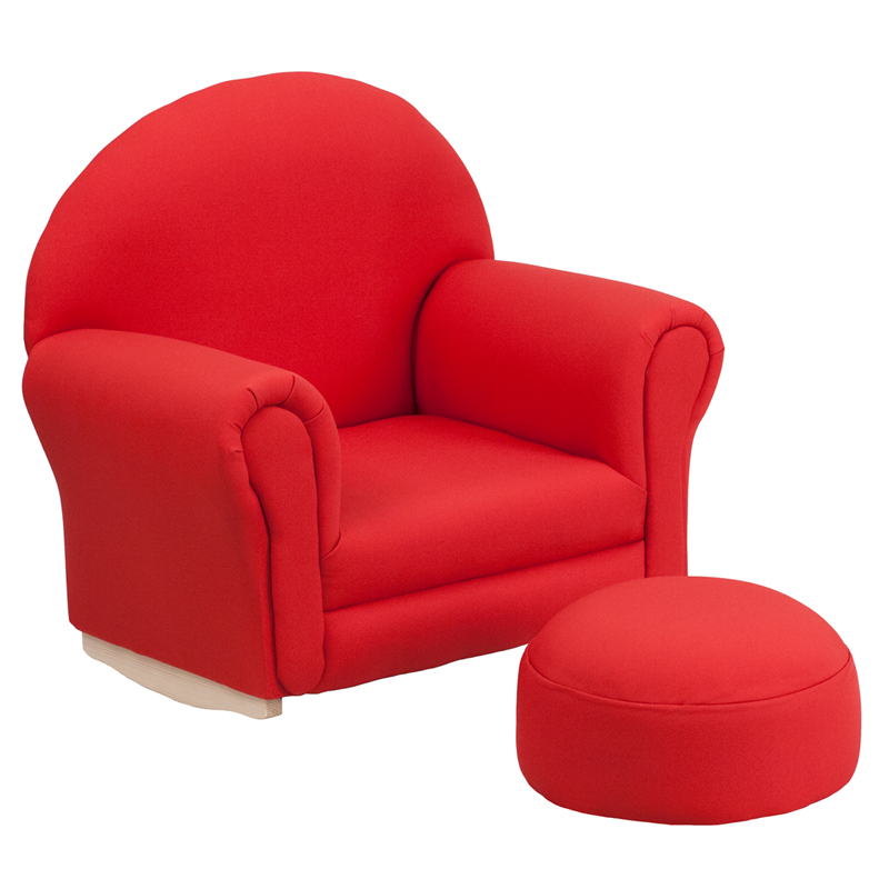 Kids Red Fabric Rocking Chair and Ottoman