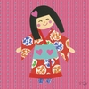 Kimono Girl - Long Bob Canvas Wall Art