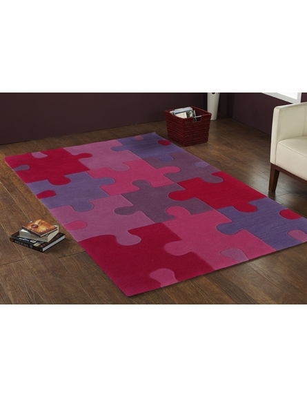 Kinderloom Pretty Pink Puzzle Rug