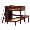 Knock Out High Loft Bunk Bed with Study Desk and Bookcase