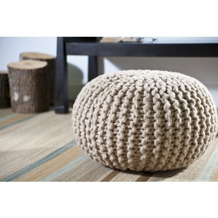 Knot Round Pouf in Natural