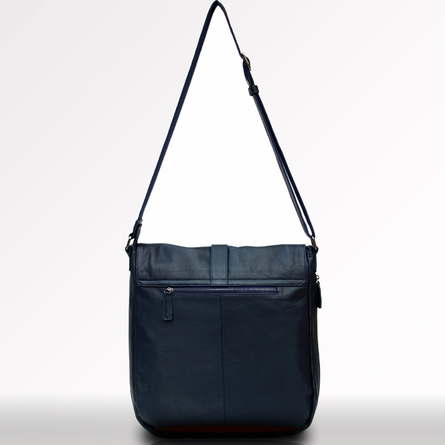 Kobe Leather Messenger Bag in Navy