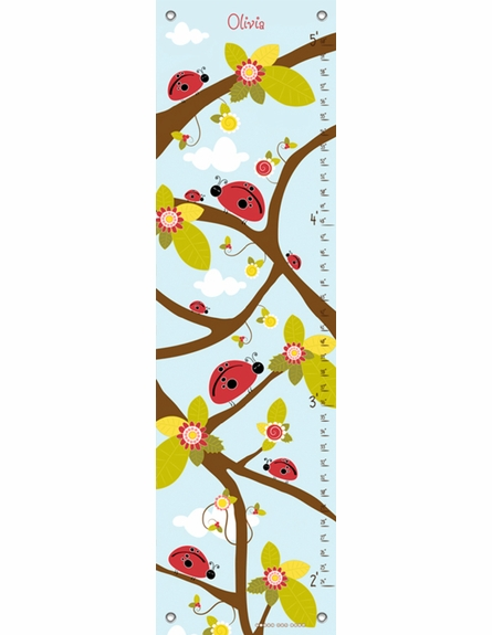 Ladybug Branches Blue Growth Chart