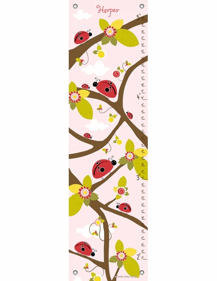 Ladybug Branches Pink Growth Chart