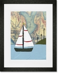 Lake Union Sailboat Framed Art Print