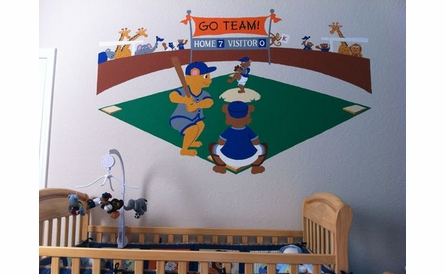 Large Baseball Bears Paint by Number Wall Mural