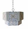 Large Blue Moroccan Mix Hexagon Pendant
