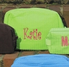 Large Embroidered Cosmetic Bag in Lime Waffle Weave