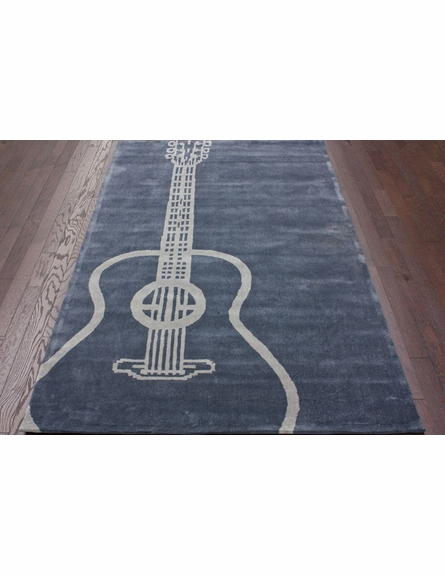 Large Guitar Rug in Gray