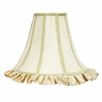 Large Ivory Ruffled Bell Shape Shade with Sage Green Trim