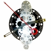 Large Moving Gear Wall Clock with Black Dial