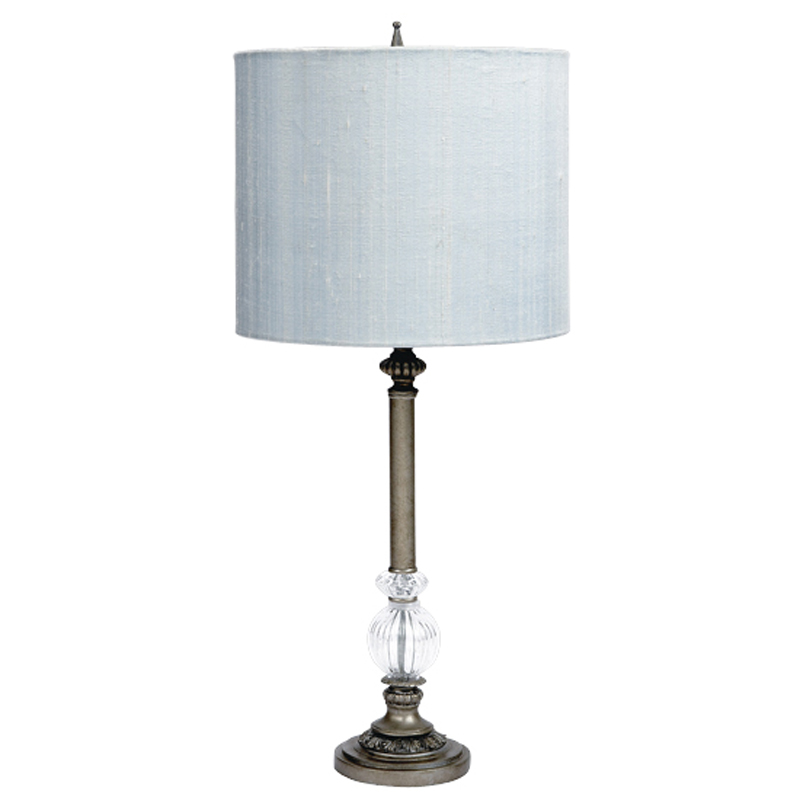 fixtures large pewter one glass ball lamp base with blue drum shade. Black Bedroom Furniture Sets. Home Design Ideas