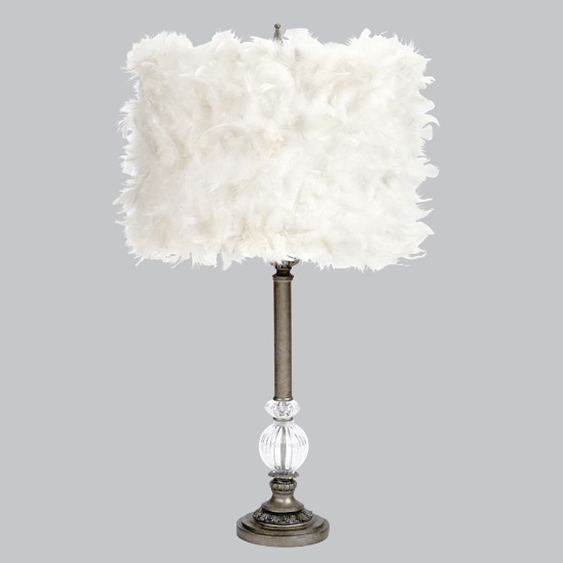 large pewter one glass ball lamp base with white feather drum shade. Black Bedroom Furniture Sets. Home Design Ideas