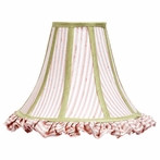 Large Pink & White Stripe Ruffled Bell Shape Shade with Sage Green Trim