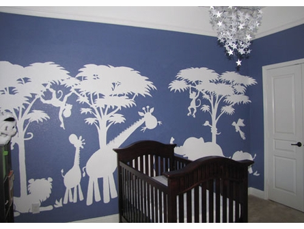 Large Silhouette Safari Paint by Number Wall Mural
