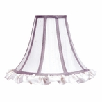 Large White Ruffled Bell Shape Shade with Lavender Trim