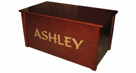 Laser Engraved Toy Box in Dark Cherry
