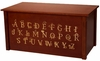 Laser Engraved Toy Box with Alphabet in Dark Cherry