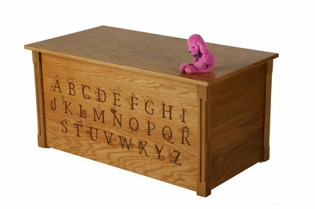 Laser Engraved Toy Box with Alphabet in Oak