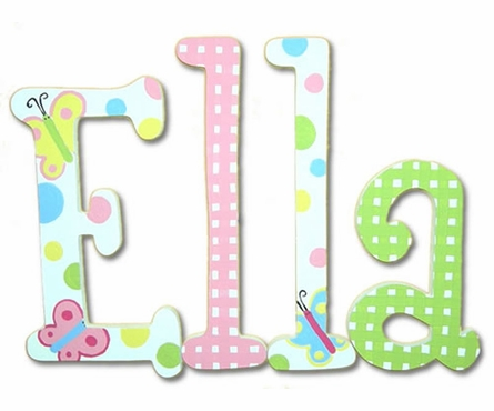 Laura Spring Garden Hand Painted Wooden Hanging Wall Letters