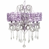 Lavender 5 Light Whimsical Chandelier With Lavender Rose Garden Shade