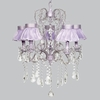 Lavender 5 Light Whimsical Chandelier With Lavender Ruffled Sheer Skirt Shade