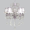 Lavender 5 Light Whimsical Chandelier With White And Lavender Ruffled Shades