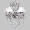 Lavender 5 Light Whimsical Chandelier With White Ruffled Sheer Skirt Shade