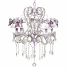 Lavender 5 Light Whimsical Chandelier With White Shades And Lavender Medium Sashes