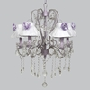 Lavender 5 Light Whimsical Chandelier With White Sheer And Lavender Rose Shades