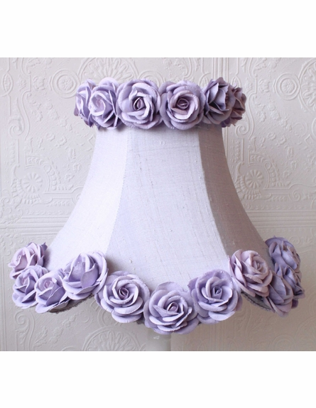 Lavender Dupioni Silk and Roses Table Lamp