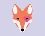 Lavender Modern Fox Canvas Wall Art