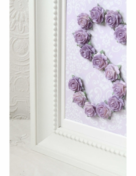 Lavender Rose Personalized Initial Frame