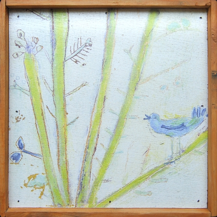 Left Bird Vintage Framed Little Art Print