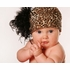 Leopard Print Cotton Hat with Black Curly Marabou