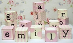 Letter Blocks in Pink
