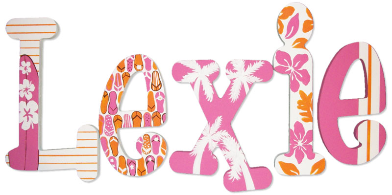 Lexie Pink & Orange Beach Hand Painted Wall Letters