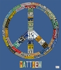 License Plate Peace in Blue Canvas Wall Art