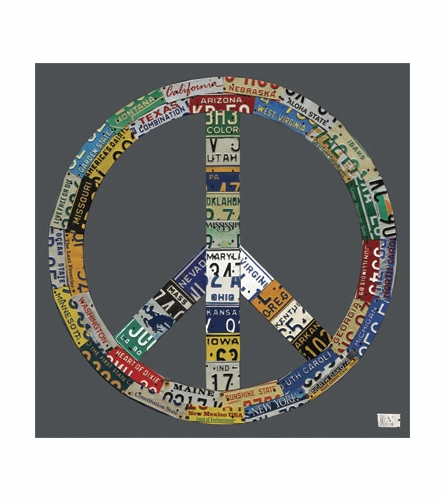 License Plate Peace in Gray Canvas Wall Art