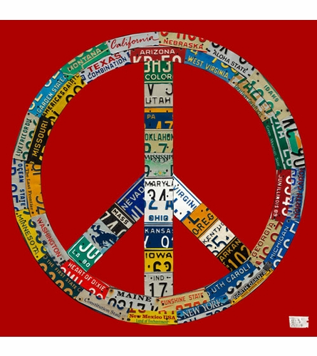 License Plate Peace in Red Canvas Wall Art