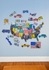License Plate USA Map Peel & Place Wall Stickers