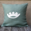 Light Blue Burlap Pillow With White Crown