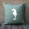 Light Blue Burlap Pillow With White Seahorse