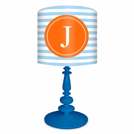 Light Blue & Orange Striped Monogram Lamp