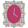 Light Sherbet Owls Quatrefoil Wall Clock