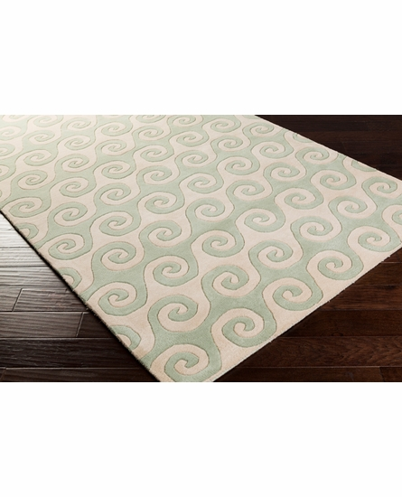 Lighthouse Waves Rug in Aloe
