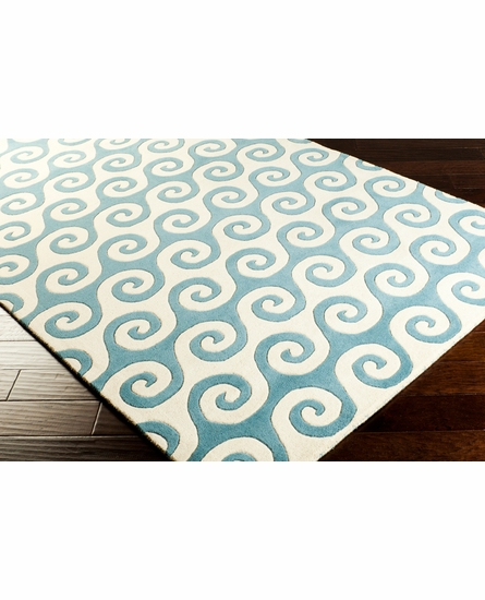 Lighthouse Waves Rug in Sky Blue