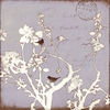 Lilac Bird and Branch I Silhouette Canvas Wall Art